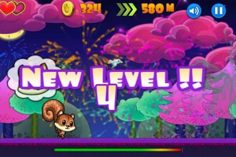 《飞行小松鼠》非常卡通可爱的跳跃休闲游戏